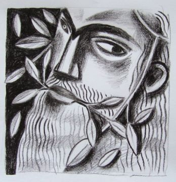 Clive Hicks-Jenkins - Green Man drawing done in preparation for Marly Youman's The Foliate Head.
