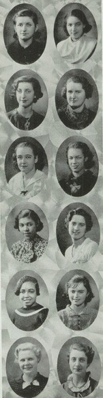 """1936 high school hairdos - in the """"Blue and Gold"""" yearbook of Girls High School in Brooklyn, New York.  #GirlsHighSchool #Brooklyn #BlueAndGold #yearbook #1936"""