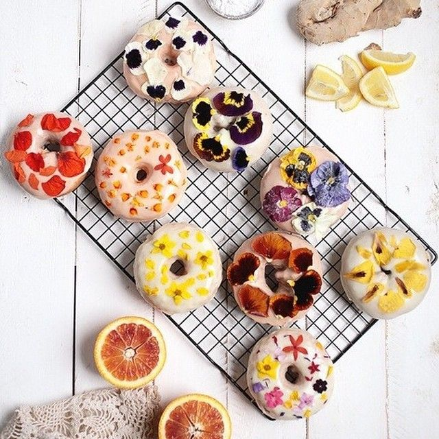 7. Floral Donuts with Blood Orange & Lemon Ginger Glaze from @TheMerrythought