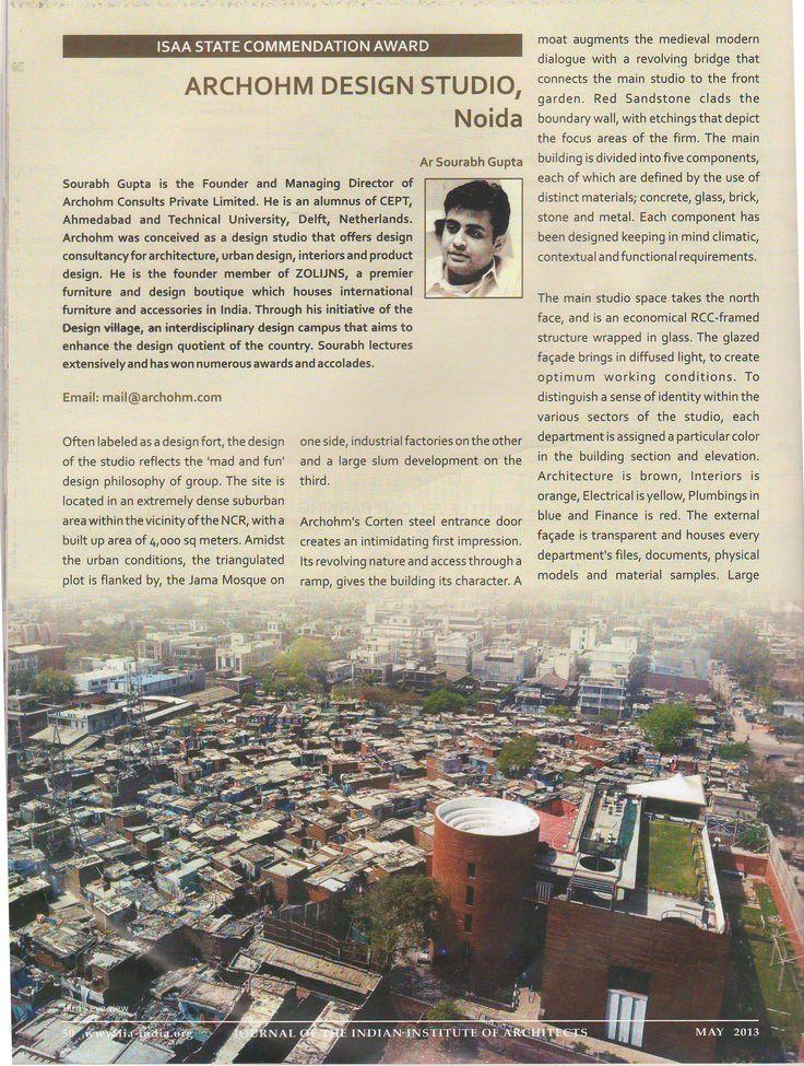 Archohm Studio in journal of Indian Institute of Architecture