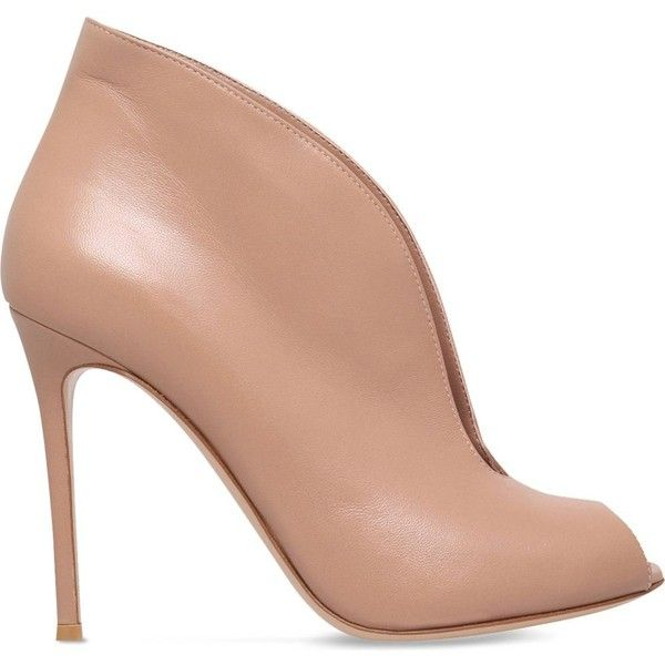 GIANVITO ROSSI Lombardy leather ankle boots ($695) ❤ liked on Polyvore featuring shoes, boots, ankle booties, nude, peep-toe boots, peep toe bootie, peep toe booties, peep toe ankle booties and slip on boots