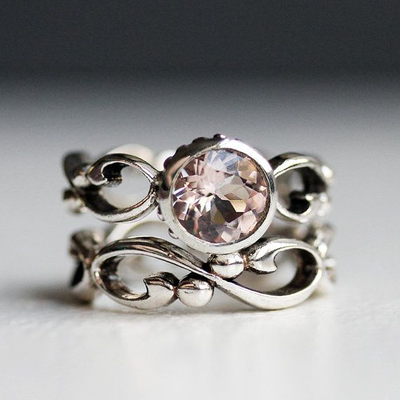 Pink morganite engagement ring set - bezel solitaire - recycled sterling silver - ethical engagement - filigree wedding band- Wrought ring