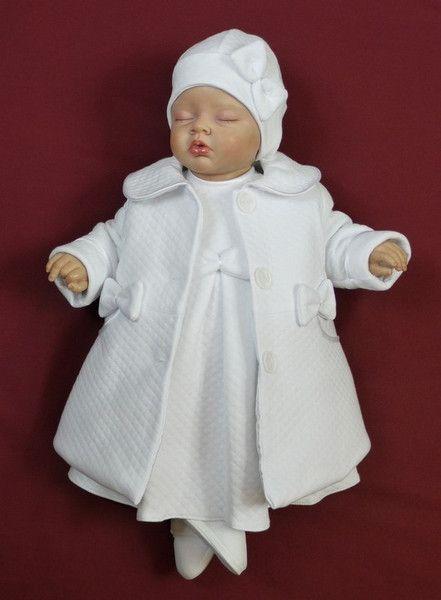 Taufbekleidung - Taufkleid für Mädchen mit Mantel, weiss - ein Designerstück von babygluck bei DaWanda