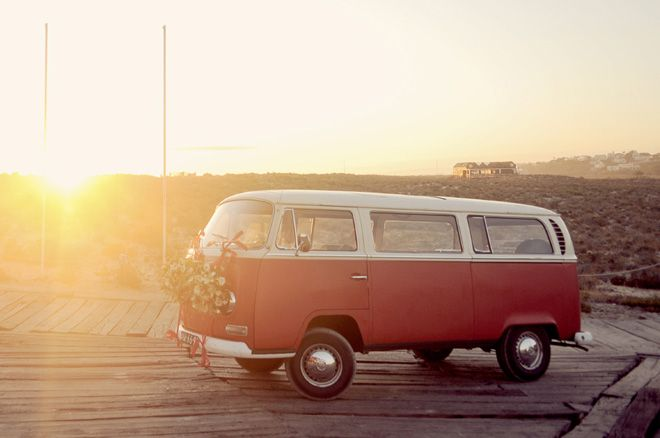 travel themed wedding ~ campervan beach wedding in Portugal