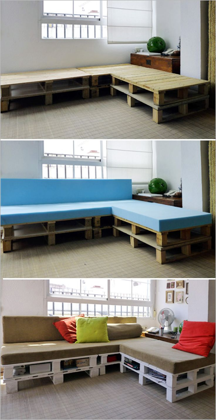 Home Ideas , DIY Wood Pallet – 20 Creative Furniture Idea : With temperpedic pads On Wood Pallets////for patio!! corner seating
