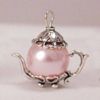 Medium Pink Pearl Sterling Silver Teapot Charm - Tea Charms - Roses And Teacups