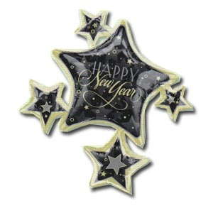 "New Year Cluster SuperShape Mylar Balloon Enchanted Evening (32"" x 35"")"