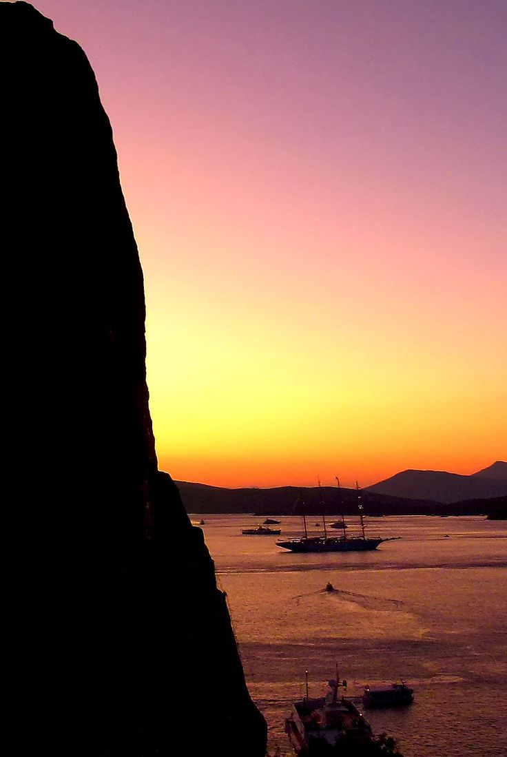 Sunset from clock tower of Poros Island
