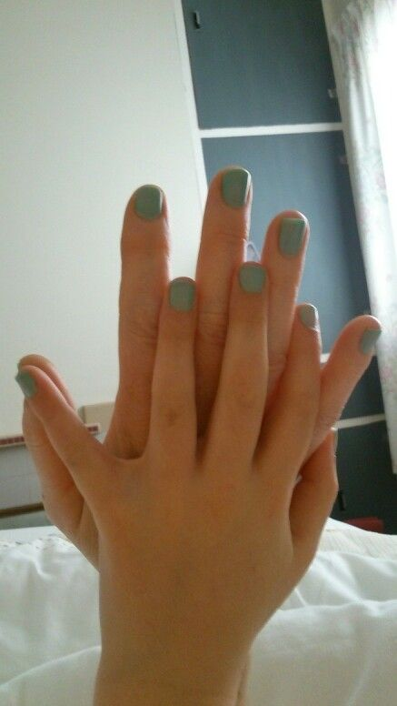 "Nails - ""Jaded"" by Sally Hansen modelled by my daughter and I :)"