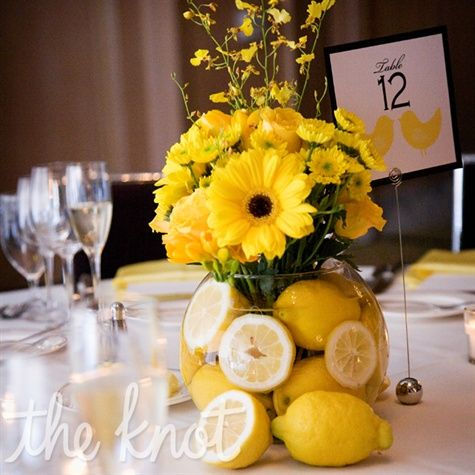 Email  Print                        273     From the lemonade stand at the beginning of the ceremony to the centerpieces the couple wanted lemons to be a consistent theme throughout their wedding reception.