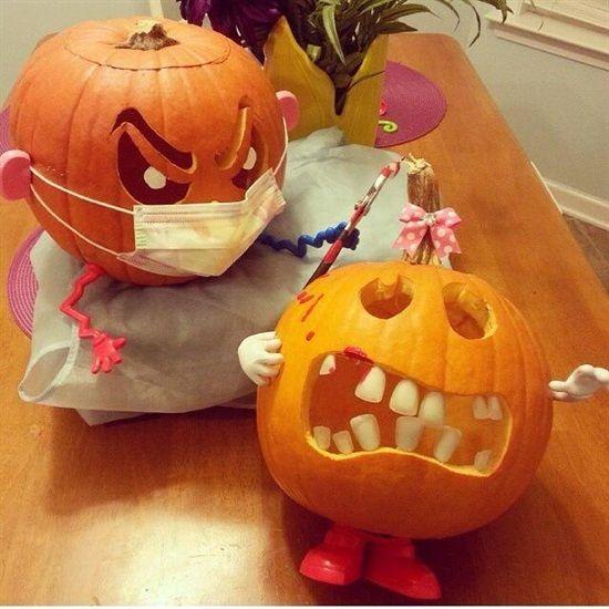 Dental Pumpkin carvings. Better floss!