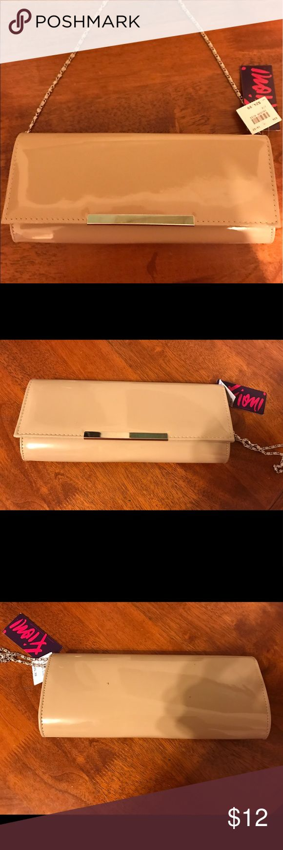 Beige Clutch Bag - NWT Beige Clutch Bag with straps. Patent-leather look, 100 percent vinyl. FIONI Clothing Bags Clutches & Wristlets