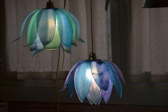 lampadario  Fiordaliso due fiori pendenti di fiorediluce su Etsy