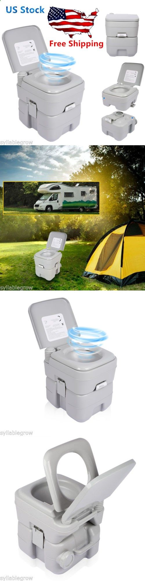 Portable Toilets And Accessories 181397 5 Gallon 20L Outdoor Camping Toilet Potty Caravan Travel
