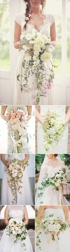 Romantic Cascade Trailing Wedding Bouquets / http://www.deerpearlflowers.com/72-unique-and-gorgeous-ideas-for-wedding-bouquets/