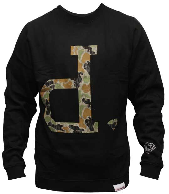 Diamond Supply Co Unpolo Rain Camo Crew Black