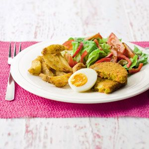 Recept - Groenteschijf met sla en kruidige aardappelpartjes - Allerhande
