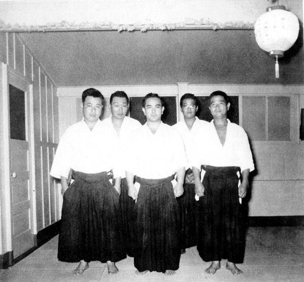 "Koichi Tohei in Hilo Hawaii, 1955 - from the blog post ""Flow Like a River: Takashi Nonaka and the Hilo Ki-Aikido Club"": http://www.aikidosangenkai.org/blog/takashi-nonaka-hilo-ki-aikido/"