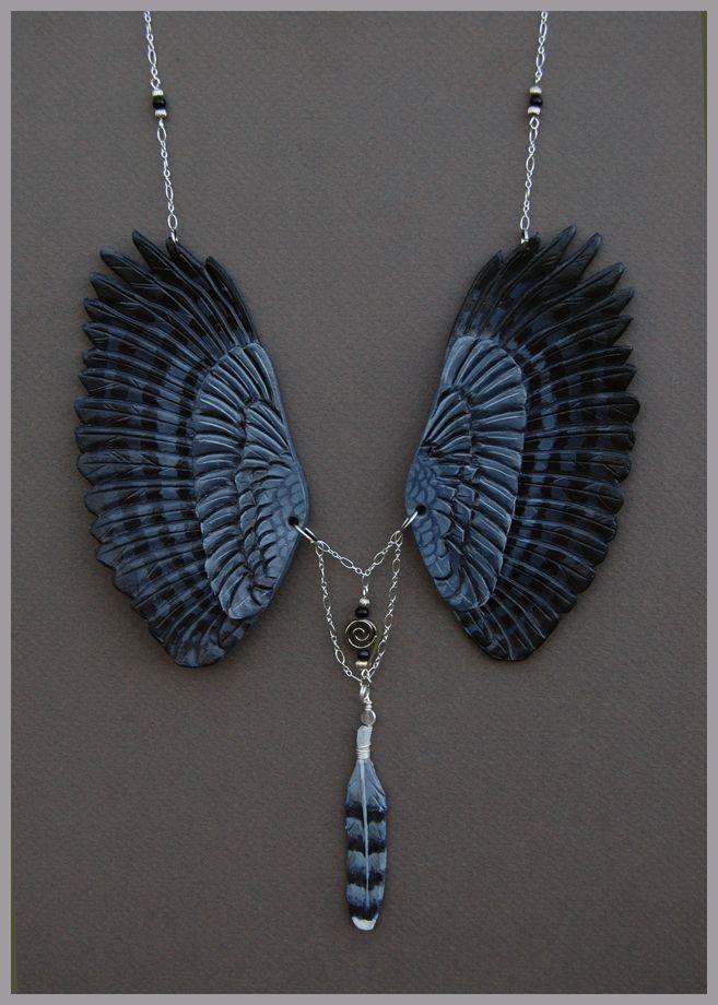 Harpyje pralesní Wings - Leather Přívěsek podle * windfalcon na deviantART Like the idea, perhaps try using different mediums? Polymer clay or bronze?