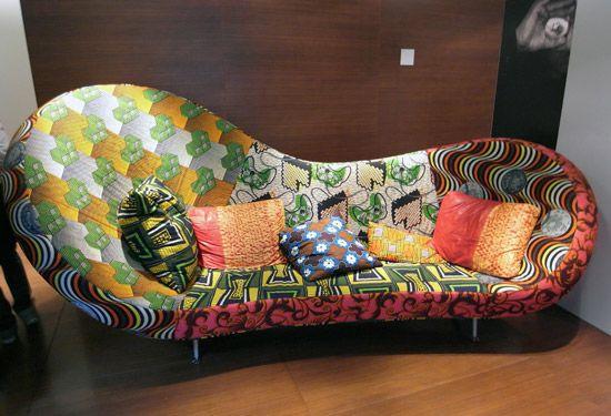 'victoria & albert sofa' by ron arad,  one off piece interpreted in african fabrics image © designboom