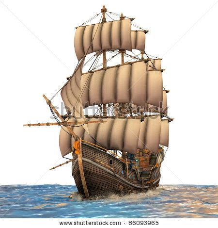 Image Detail For Vintage Wooden Tall Ship Under Full Sail In Rough Sea Ocean