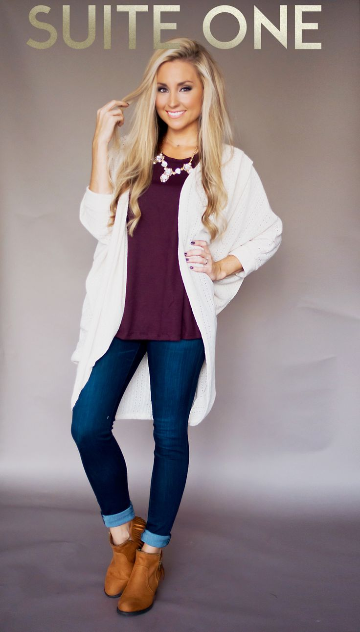 Maroon tee + cream cardigan + booties I love anything that is maroon. Love the jeans and booties. Not in love with cream cardigan.