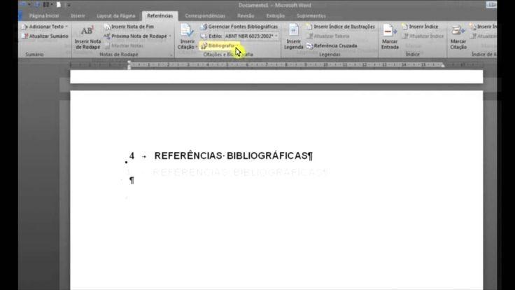 Aula 4 - ABNT - Fazendo e inserindo referências bibliográficas no Word 2010
