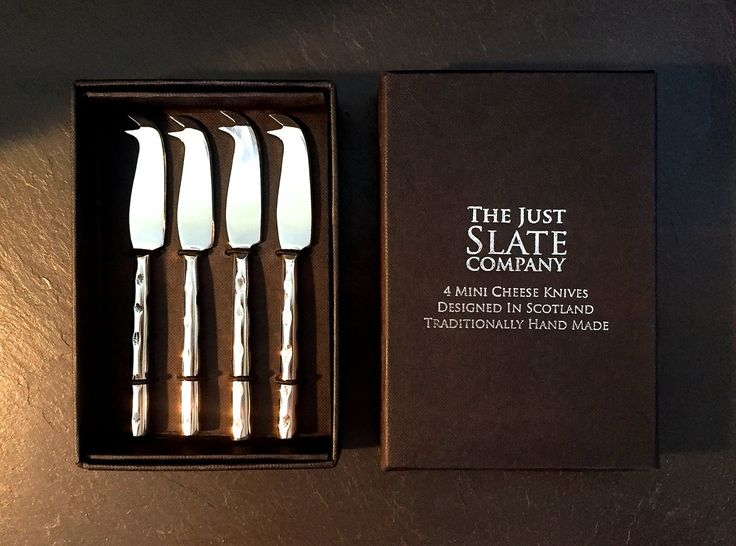"""With the festive season fast approaching, we invite you to visit The Home Farm Gift Shop and Castle Gift Shop to view the delightful collection from The Just Slate Company! An essential for all foodies, this exquisite set of four miniature cheese knives are perfect for making an appearance at dinner parties. Each piece is designed and traditionally hand-made in Scotland, presented in The Just Slate Company's signature gift box and crafted from stainless steel. Are you cheeseboard ready?"""