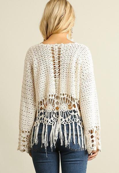 Knit Crochet Top with Fringe Hemline-Natural