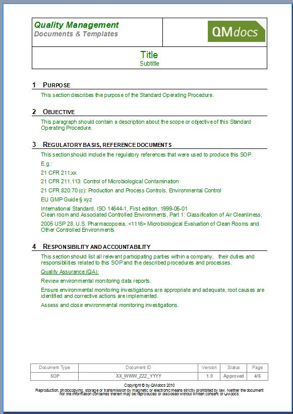 Standard Operating Procedure Template   SOP Template  Manual Format Template