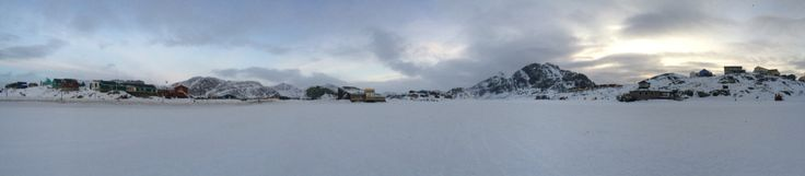Citylife from The frozen Lake in the middle og Sisimiut