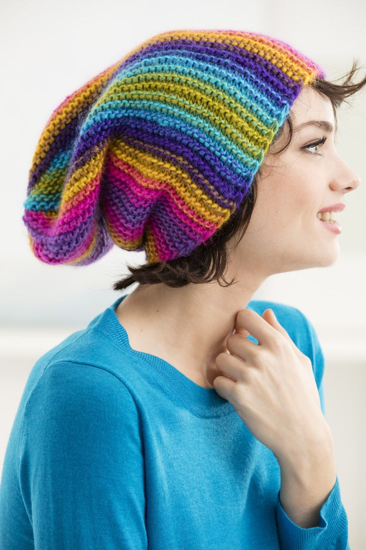 Make this stunning rainbow hat with our featured yarn - Lion Brand Landscapes! Save 20% on this yarn and more for a limited time. Get our free knit pattern and make it with just 2 balls of yarn (pictured in boardwalk) and size 9 (5.5mm) knitting needles!