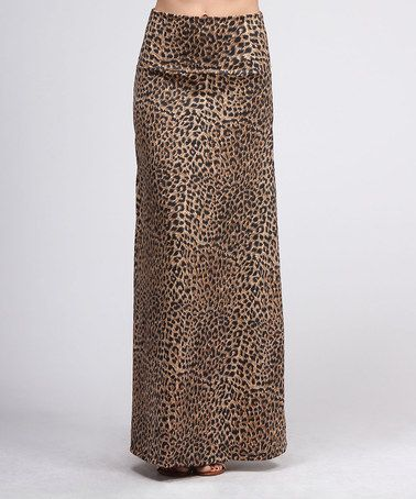 Take a look at this Brown Leopard Maxi Skirt by BOLD & BEAUTIFUL on #zulily today!