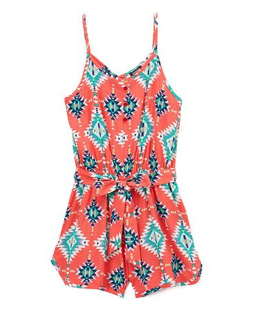 Look at this #zulilyfind! Coral & Mint Romper - Girls #zulilyfinds