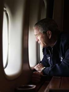 Iconic image of President George Bush flying over New Orleans after the Hurricane Katrina tragedy~