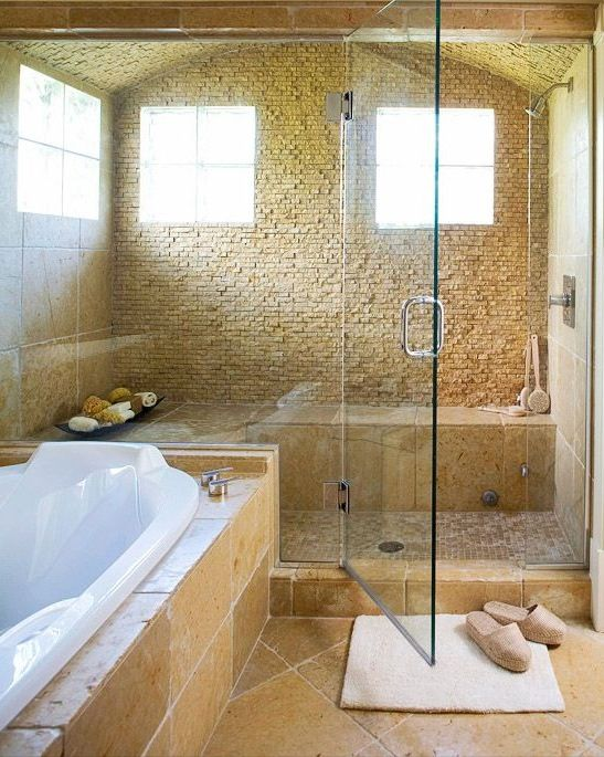 Small travertine tiles for the shower
