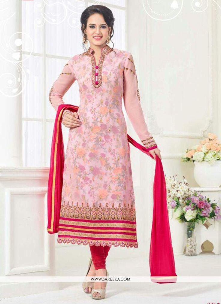Vogue and trend would be on the peak of your splendor when you dresses this pink faux georgette churidar designer suit. The gorgeous embroidered work a intensive attribute of this attire. Comes with m...