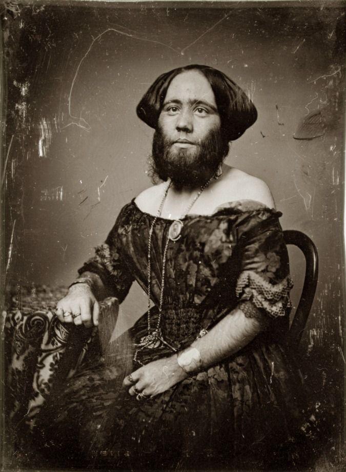 "Josephine Clofullia. [Madame Clofullia, P.T. Barnum's ""Bearded Lady of Geneva""]. Daguerreotype by Thomas M. Easterly, 1853."