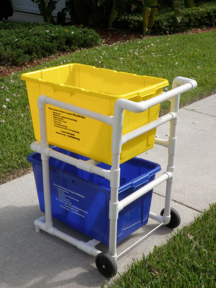 recycling bin cart from pvc diy pinterest recycling. Black Bedroom Furniture Sets. Home Design Ideas