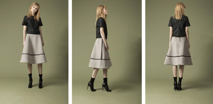 flock print top , terry midi skirt
