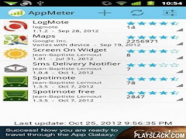 AppMeter  Android App - playslack.com , AppMeter lets you monitor any Play Store application to get statistics about ratings and releases through time.Just set the package name and AppMeter handles the rest. No authentication necessary, AppMeter retrieve publicly available data.Features:- Retrieves information about the current release (version, date, size, install range, price, average rating, ratings count, stars)- Stores information through time- Shows charts abouts average ratings, stars…