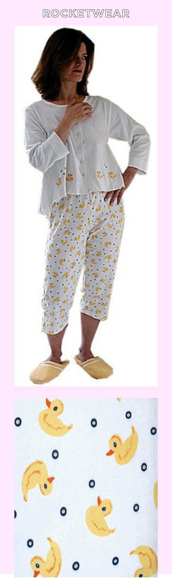 RocketWear Women's Rubber Duck Print Long Sleeve Button Front Cotton Knit Capri Pajamas (Large) Made by #RocketWear Color #White and Yellow. Sizes run as follows: S(6-8), M(10-12), L(14-16), XL(18). Capri pajamas fits petite and tall bodies. Vibrant colors and detailed finishings hold up with repeated washings. Contemporary in attitude in a true missy fit. Makes a great gift!