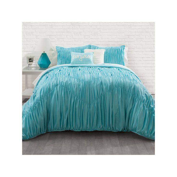 Seventeen Aqua Rouched Chevron Comforter Set, Blue