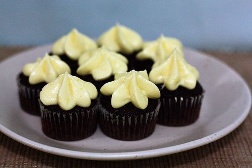 Mini Chocolate Cupcakes with Lemon Cream Cheese Frosting