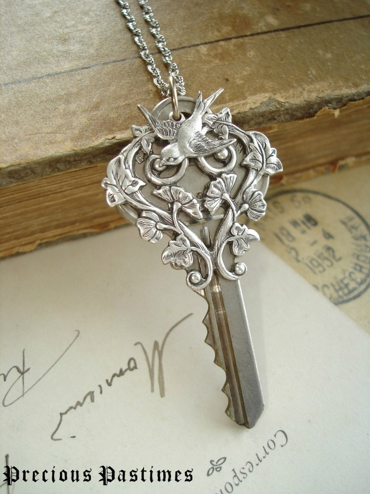 MORNING GLORY HEART - Vintage Key Necklace. Romantic Sterling Silver Flowers and Sparrow. Rustic Jewelry. Garden Necklace. Steampunk.. $42.50, via Etsy.