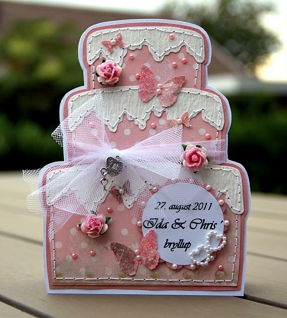 """A card made of """"Donnas"""" model, this time a wedding-cake-card. Papers from Riddersholm Design."""
