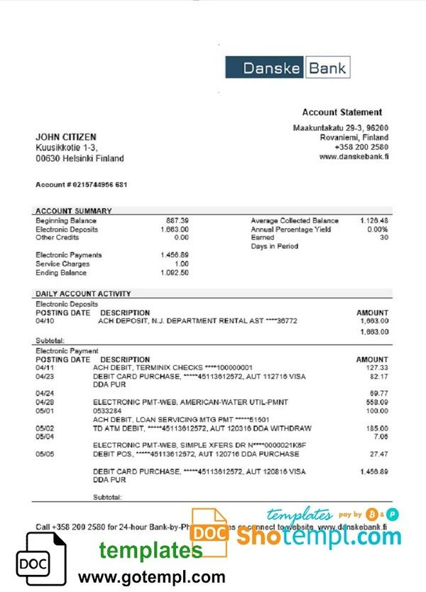 Pin By Leslie Barouse On Live Statement Template Bank Statement Statement
