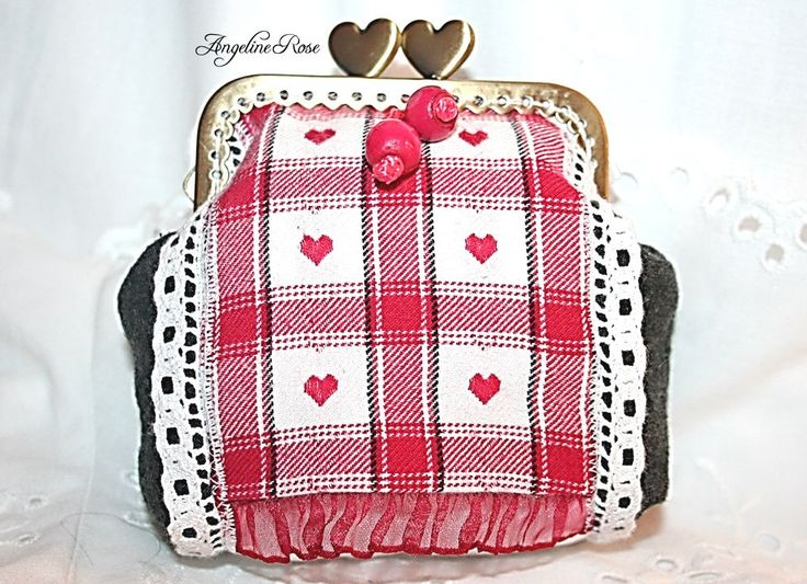 Hungarian style  purse, gray clutch with lace and heart, unique coin purse, angeline rose purse, kiss lock purse, handmade clutch by AngelineRosePurse on Etsy