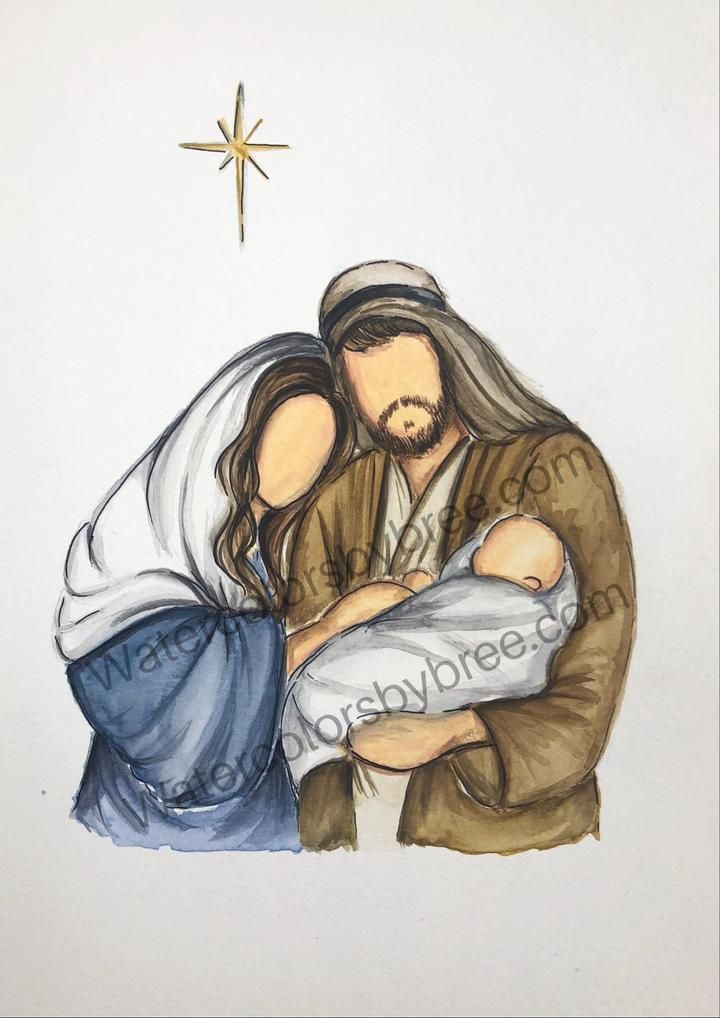 Beautiful Watercolor Picture Of Jesus Birth Christmas Paintings