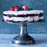 Berries and Cream Cheesecake|  http://www.rachaelraymag.com/Recipes/rachael-ray-magazine-recipe-search/dessert-recipes/berries-and-cream-cheesecake